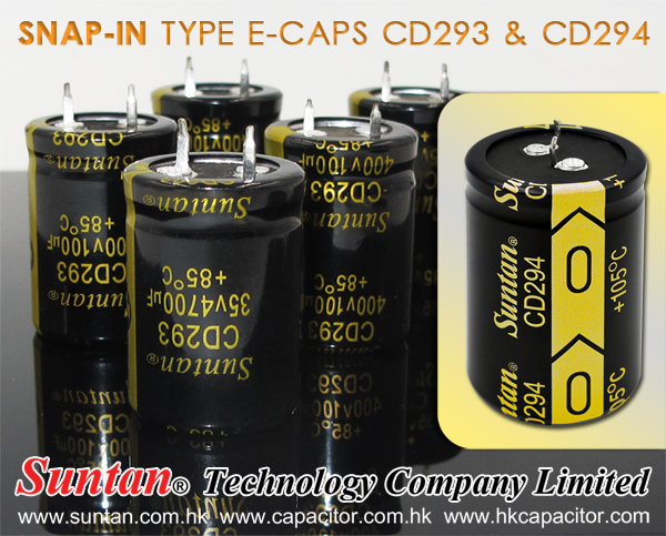 Suntan Update Price for Snap-in Type E-caps CD293 & CD294,Aluminum Electrolytic Capacitors